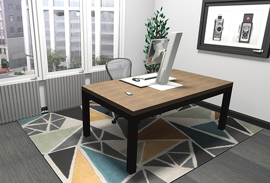3D rendering of home office in an apartment