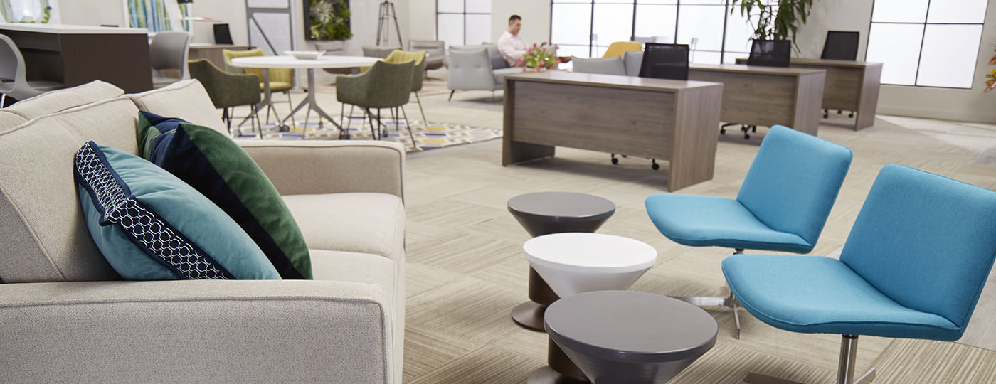 Large coworking area with man