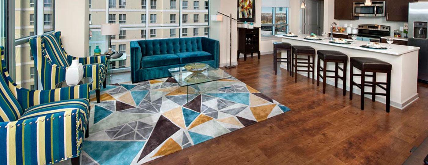 Element Uptown model unit living room