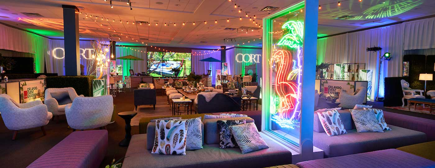 CORT Events Luna furniture at a night-time event