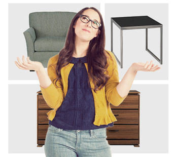 Young woman with glasses in a yellow sweater holding up her arms in front of a background with photos of furniture