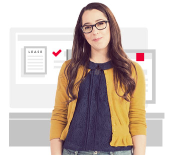 Young woman with brown hair and glasses in a yellow sweater on a white background with the word