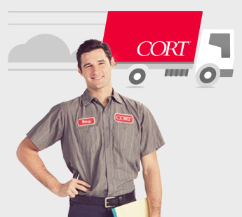 A delivery man in a gray shirt in front of a white background with a red CORT truck