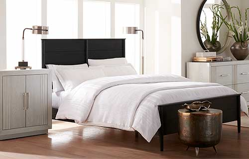 Black Langley headboard and bedframe by CORT