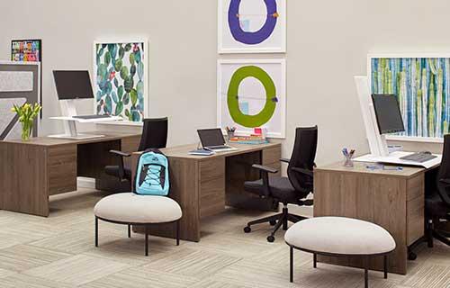 Totem desk coworking area