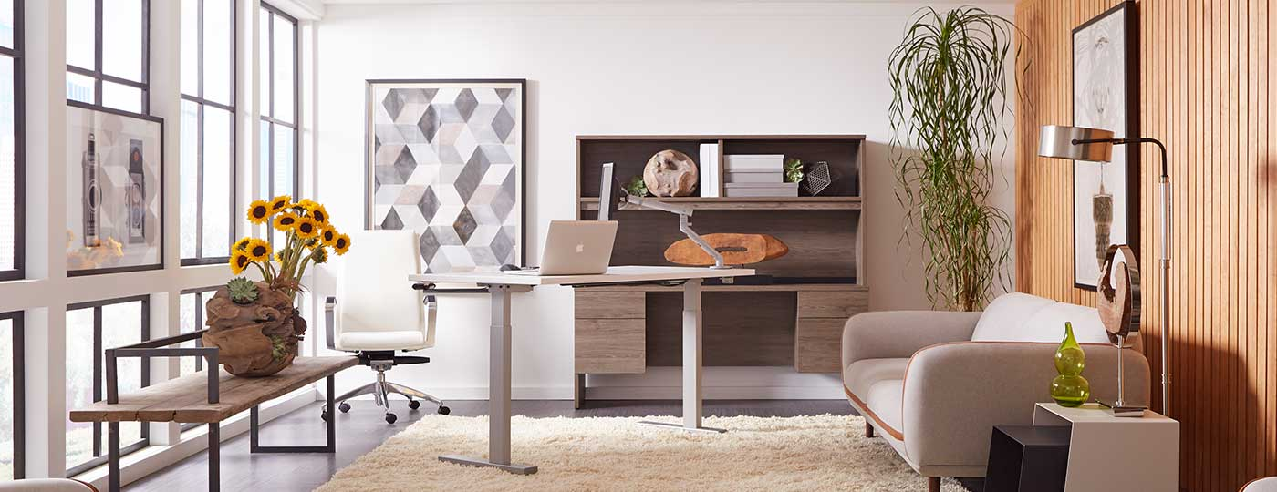 Executive Sit-to-Stand with Totem Credenza
