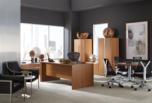 The Nex desk and two matching office cabinets in a sunny private office