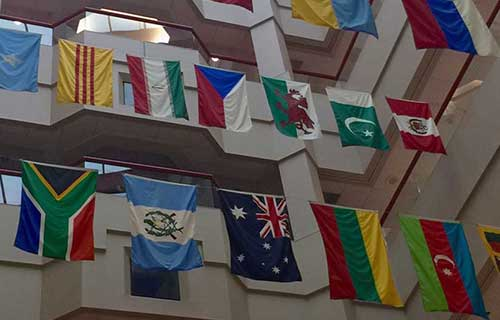 St. Jude Children's Research Hospital flags in the lobby