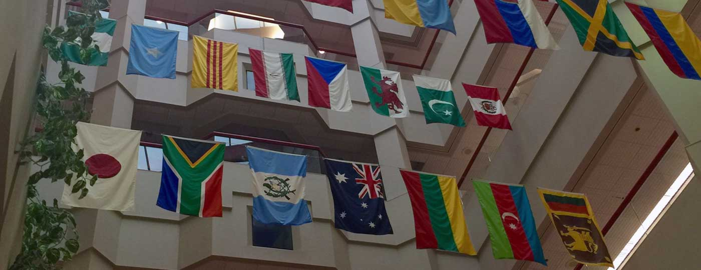 St. Jude Children's Research Hospital flags in lobby
