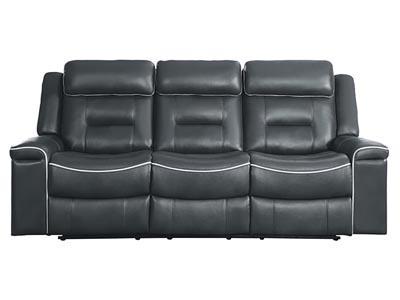 Darwan Motion Dark Gray Leather Double Lay Flat Reclining Sofa