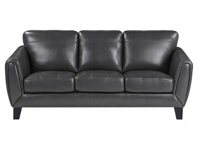 Spivey Collection Gray Leather Sofa