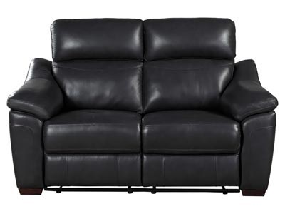 Renzo Gray Leather Power Double Reclining Loveseat with USB