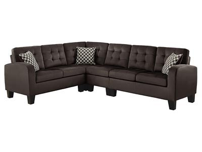 Sinclair Chocolate Corner Seat and Armless Chair Sectional