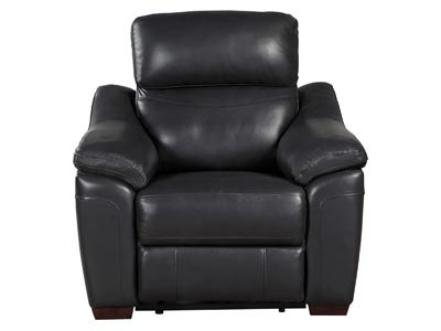 Renzo Power Reclining Dark Gray Leather Chair with USB