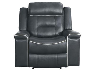 Darwan Motion Dark Gray Leather Lay Flat Reclining Chair,