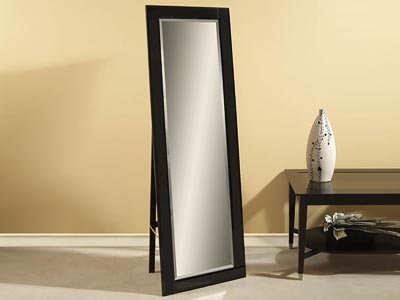 Rent the Beveled Black Cheval Mirror