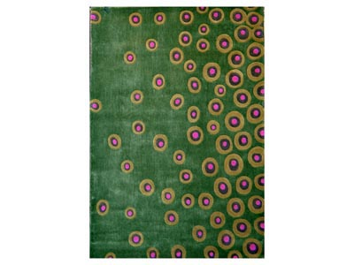 Festival Green and Pink Dots 5'x8' Area Rug