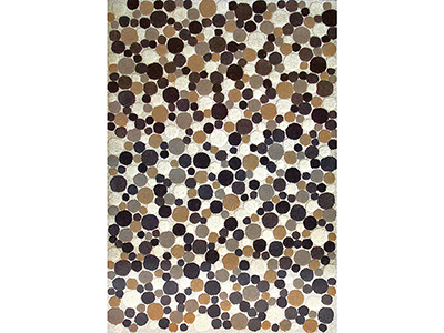 Rent the Puffed Beige Gray Dots 8' x 10' Area Rug