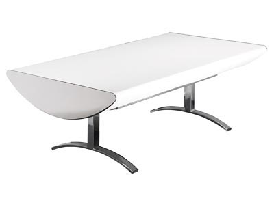 Crescent White Ostrich Coffee Table