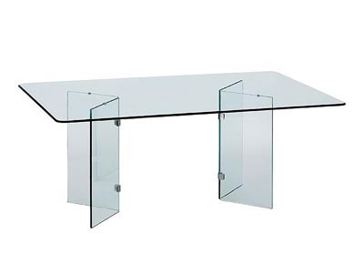 Rent the Glass on Glass Rectangle Dining Table