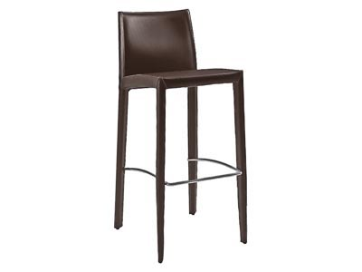Glide Brown Leather Counter Stool