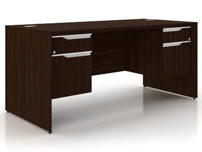 NEX Dark Chocolate Double Pedestal Jr Executive Desk 30x66