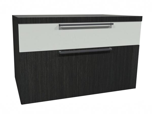 Rent the STAKS Box File Cabinet, White and Steel Gray Oak