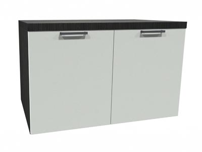 Rent the STAKS 2-Door Cabinet, White and Steel Gray Oak