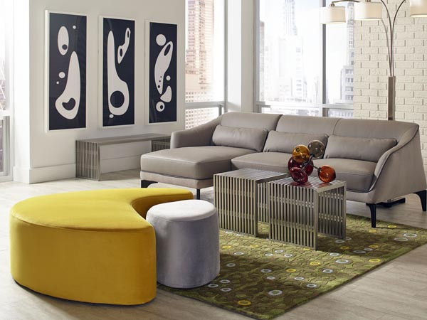 Rent the Intersect Yellow and Gray Ottoman