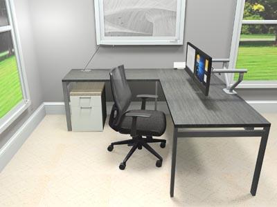 """STAKS 30"""" x 72"""" L-Shaped Steel Gray Oak Desk, 66"""" Right Return"""