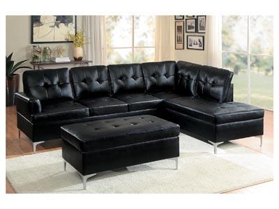 Jessica Black 3PC Sectional Sofa