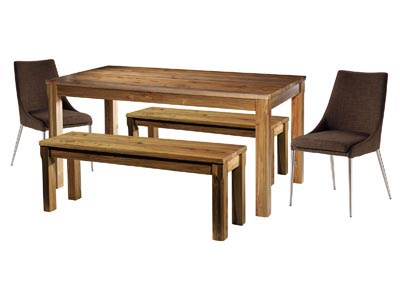 Rustique 3 PC Dining Table & Bench Set