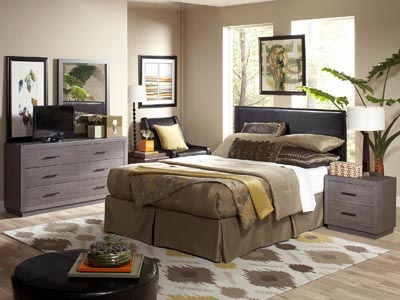 Copley Black Queen Headboard and Dorian 4 PC Matching Bedroom Set with 2 Nightstands