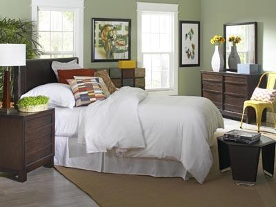 Copley Black Queen Headboard and Easton 4 PC Matching Bedroom Set with 2 Nightstands
