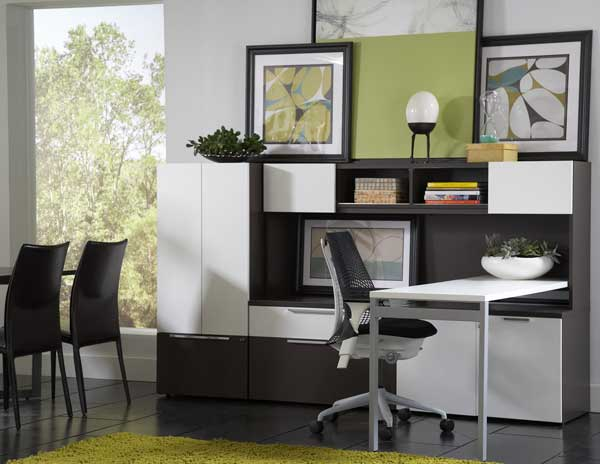 "Rent the STAKS Integrated Home Office with 22"" White Desk"
