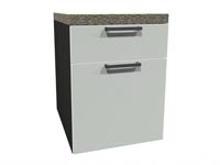 Rent the STAKS Mobile Pedestal with Cushion, White and Steel Gray Oak