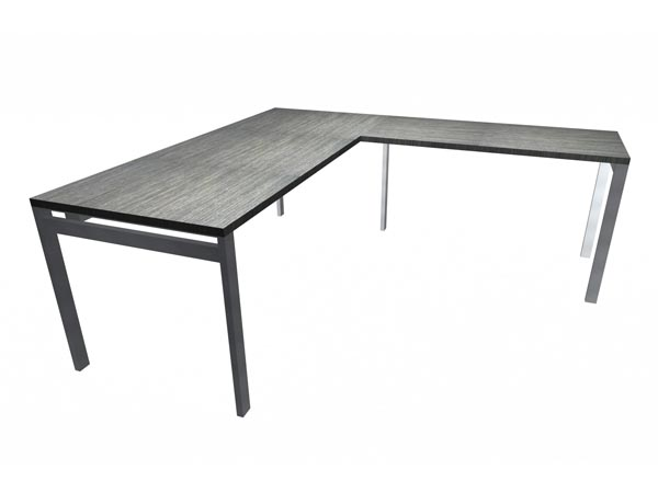 "Rent the STAKS 30"" x 72"" L-Shaped Desk, Steel Gray Oak (RIGHT RETURN)"