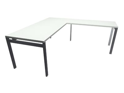 "Rent the STAKS 30"" x 66"" L-Shaped Desk, White (RIGHT RETURN)"