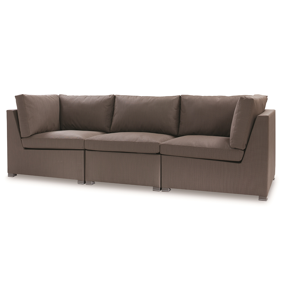 Modern loveseat with blue fabric and black frame for rent for lounges