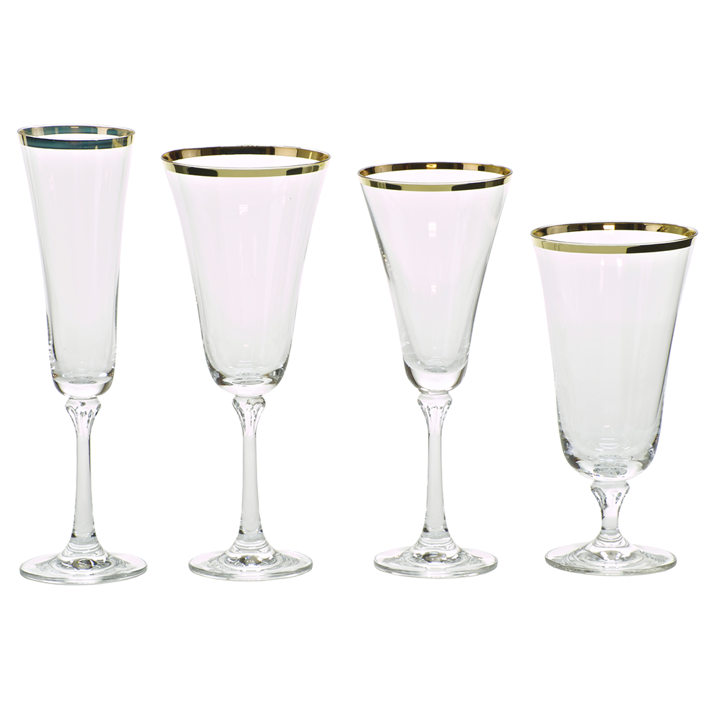 Gold rim glasses for your next event