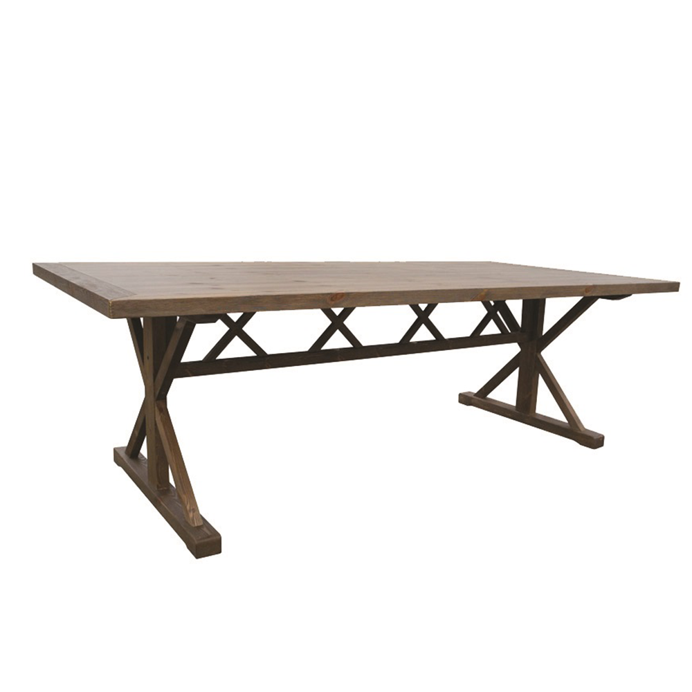 Classic cocktail table with a wood laminate top and black base for rent